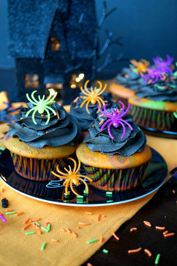 Halloween Marble Cupcakes With Dark Chocolate Frosting