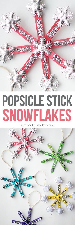 Popsicle Stick Snowflake Ornaments