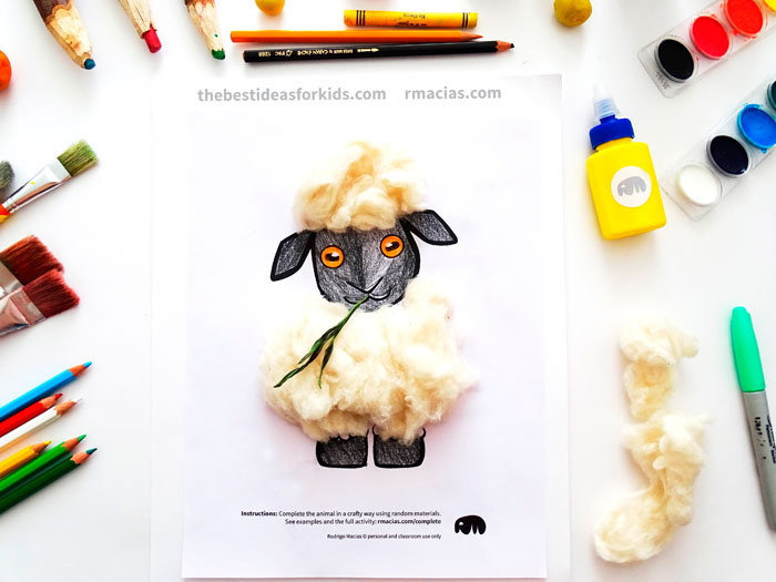 Sheep made with Cotton Balls Craft
