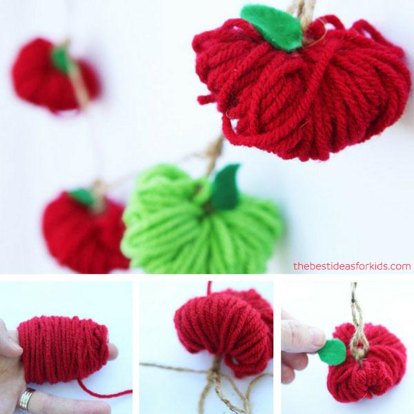 Yarn Apple Garland - DIY Garland