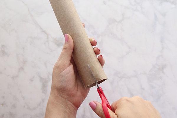Cut Slits in Paper Towel Tube