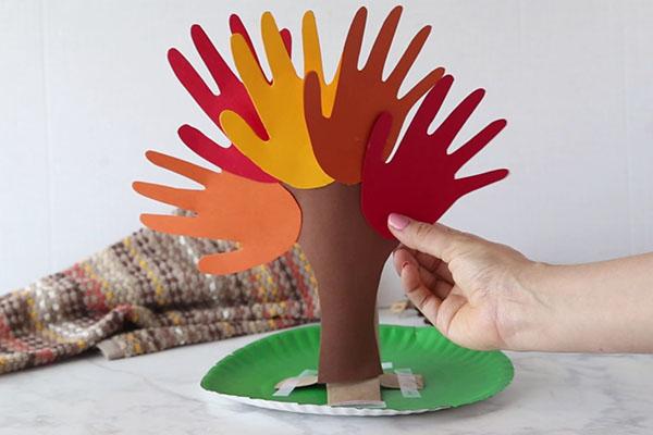 Glue Hands on Handprint Tree
