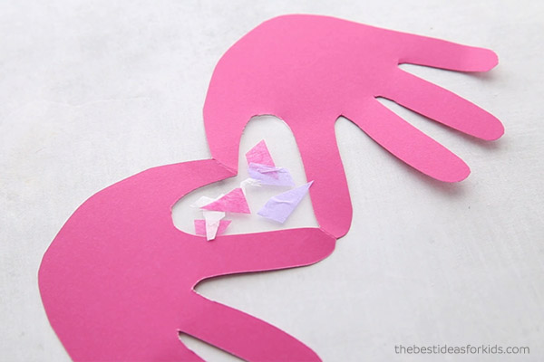 Add Tissue Paper I Love You to Pieces Craft