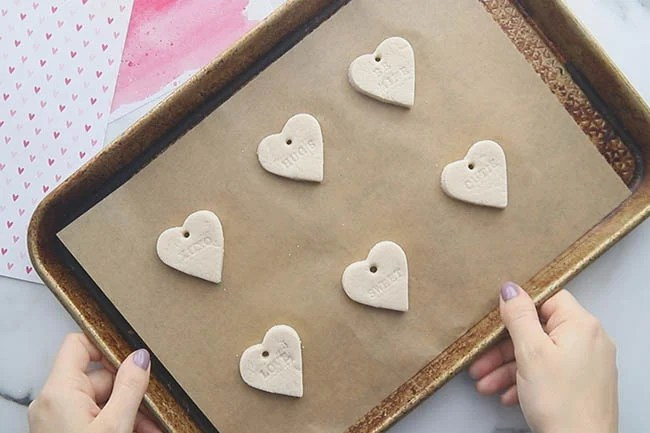 Add a hole to the top for the salt dough hearts