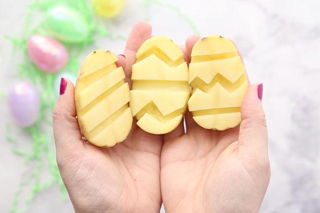 Make Easter Egg Potato Stamps