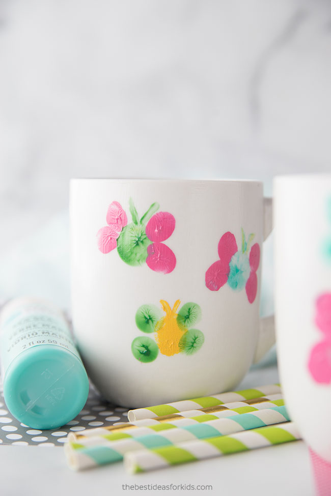 Mug Painting Ideas Fingerprint Butterfly
