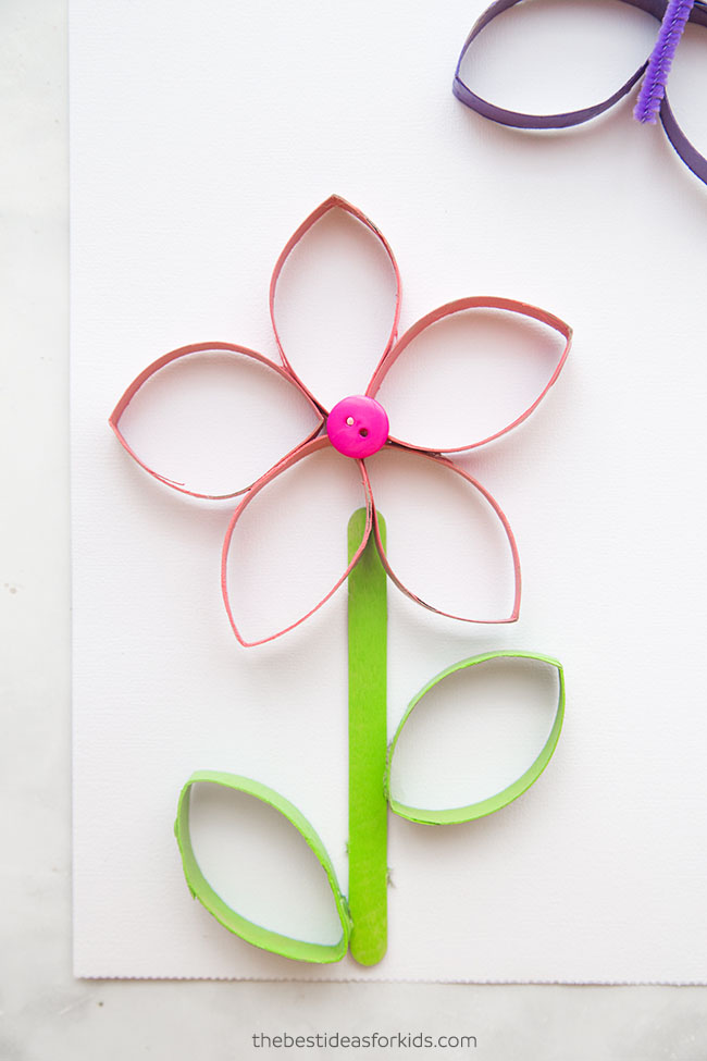 Paper Roll Flower with Popsicle Sticks