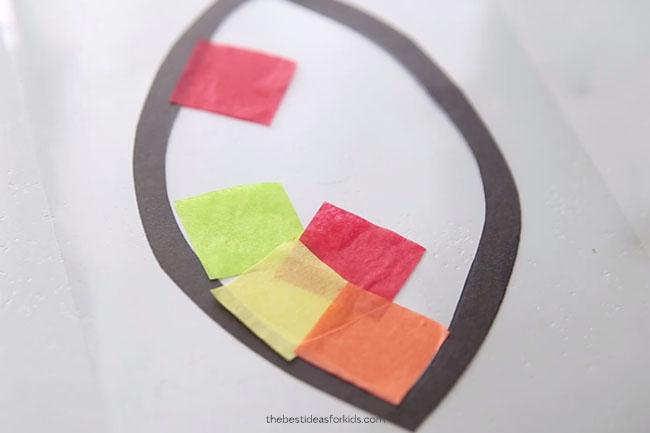 Add Tissue paper to suncatcher
