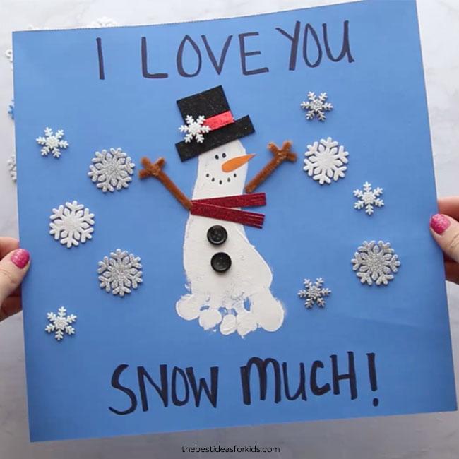 I Love You Snow Much Footprint Snowman