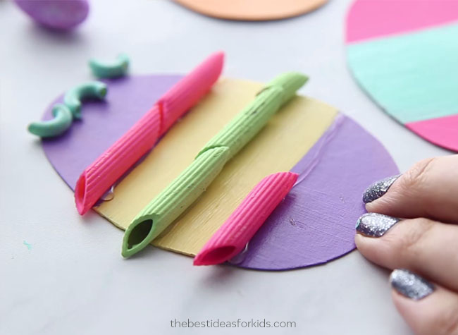 Glue Pasta Noodles to Easter Eggs