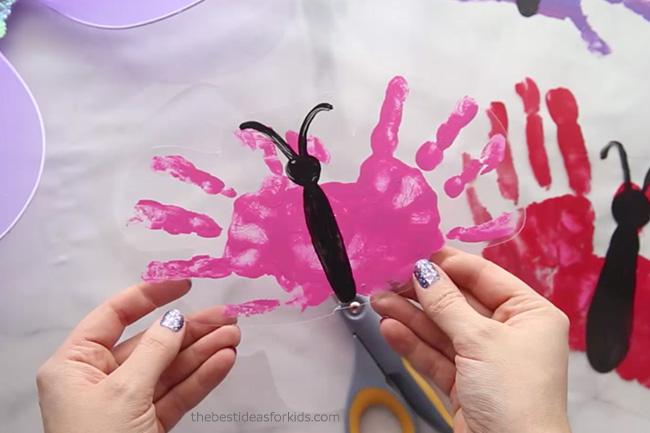 Cut out shrinky dink handprint
