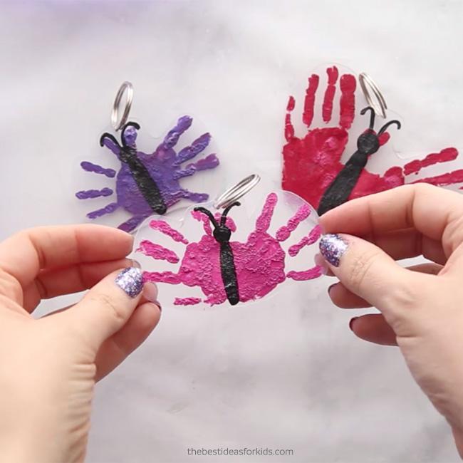 Handprint Butterfly Shrinky Dink Keychain