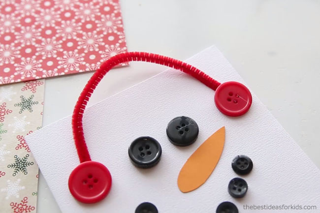 Add Pipe Cleaner and Buttons to Snowman Card