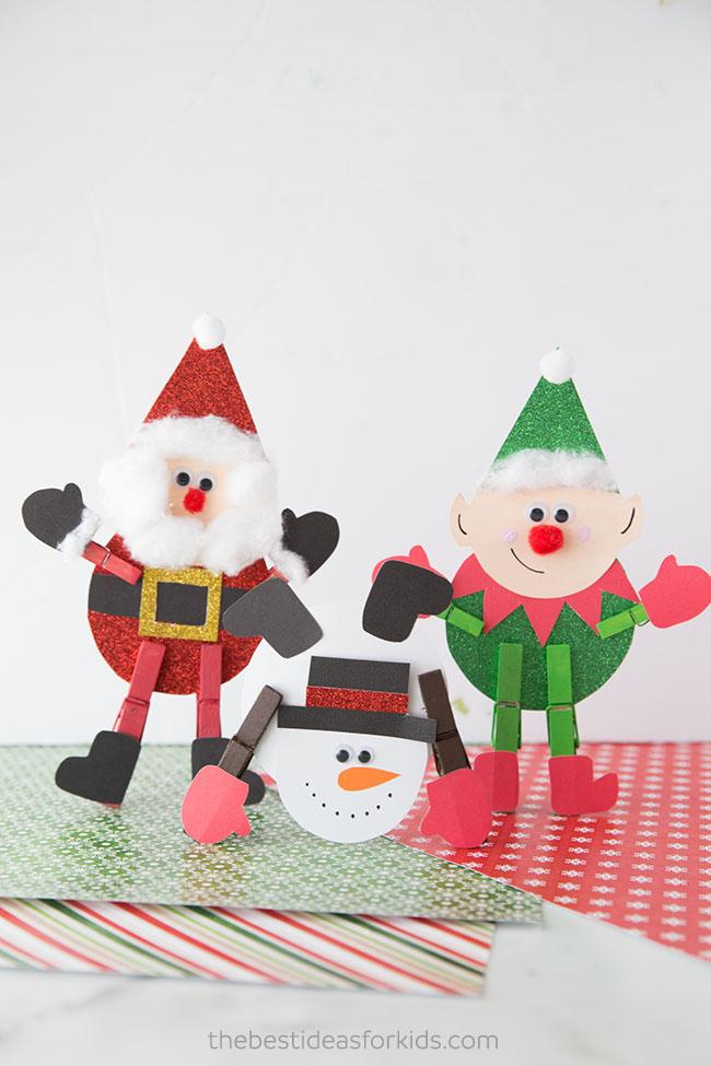 Christmas Clothespin Santa Elf Snowman
