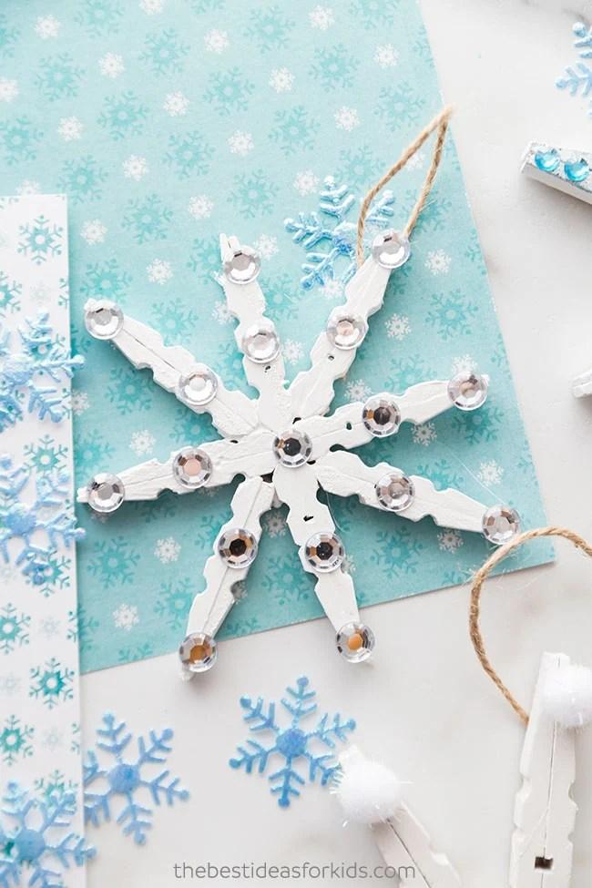 Clothespin Snowflake Ornament