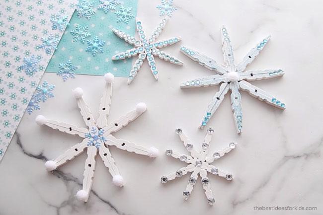 DIY Clothespin Snowflakes