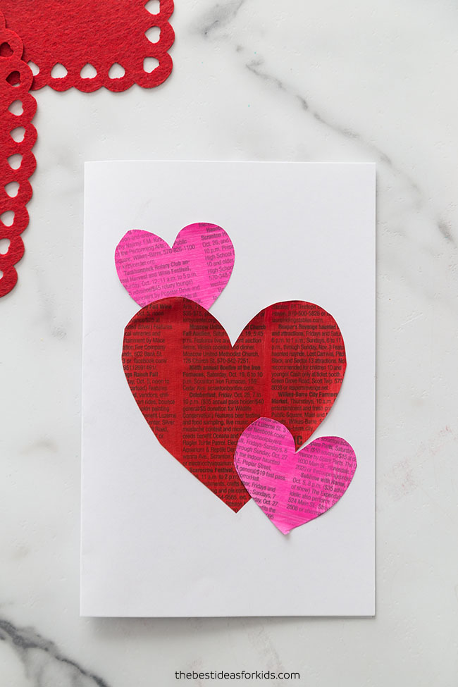 Newspaper Heart Valentine Card