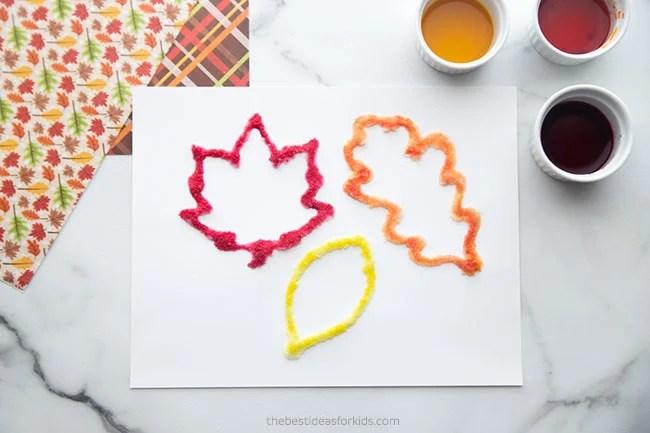 Leaf Salt Painting Craft for Kids