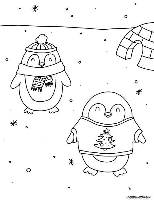 Penguins Coloring Page