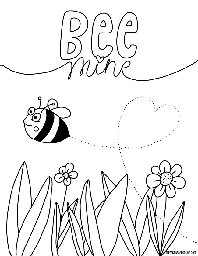 Bee Mine Valentine Coloring Page