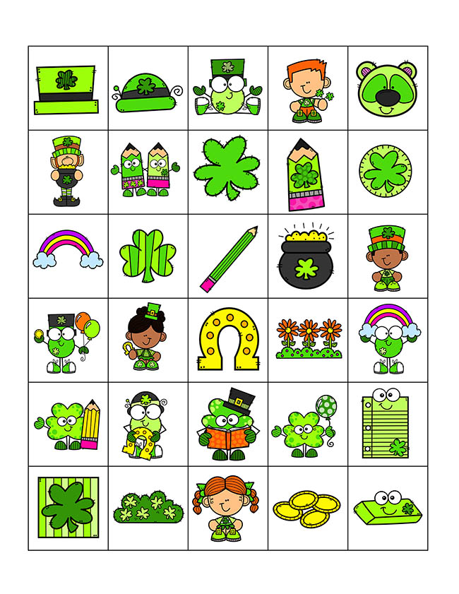 Calling cards for St Patrick's Day Bingo