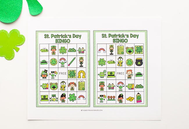 St Patrick's Day Bingo Printable Cards for Kids
