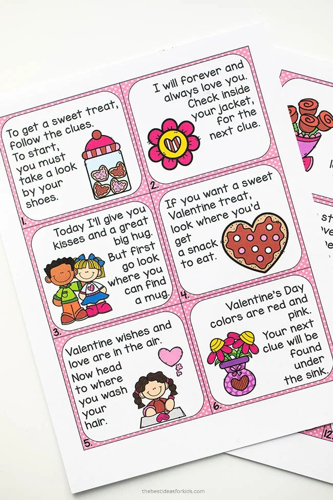 Valentine's Day Scavenger Hunt Clue Cards
