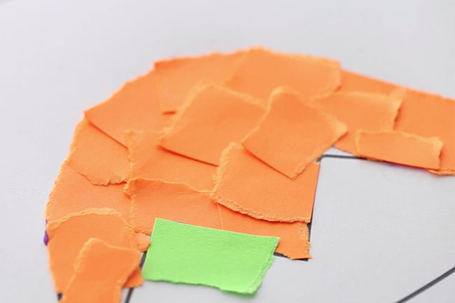 Glue on Paper Strips to Template
