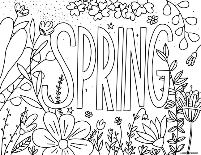 Spring Letters Coloring Page