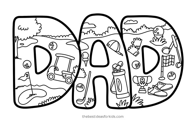 Dad Golfing Doodle Card