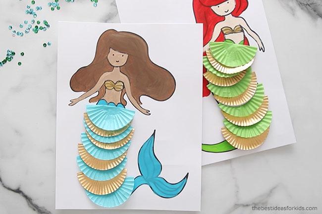 Mermaid Cupcake Liner Coloring Page