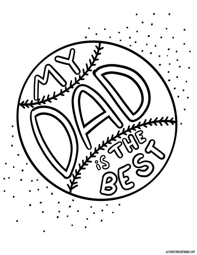 Baseball Dad is the Best Coloring Page