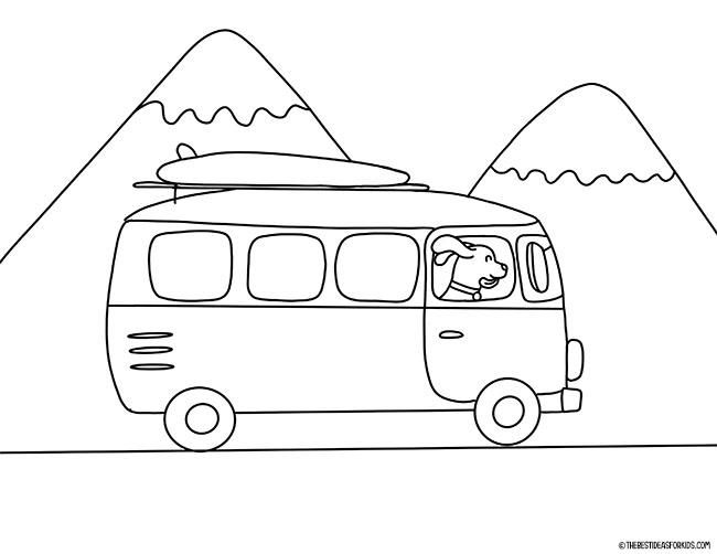 Página para colorir da camper van