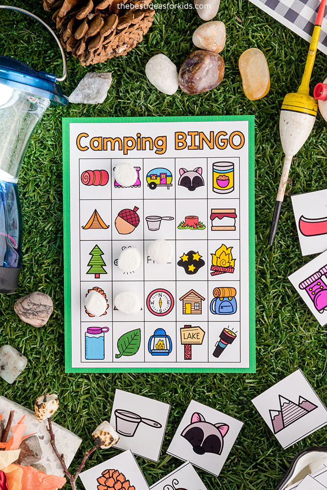 Camping Bingo Game Printable for Kids