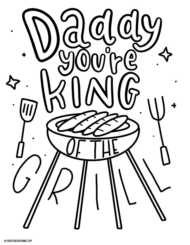 King of the Grill Coloring Page