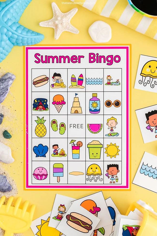 Bingo de verão para impressão grátis