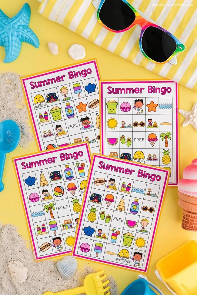 Cartões para impressão de bingo de verão