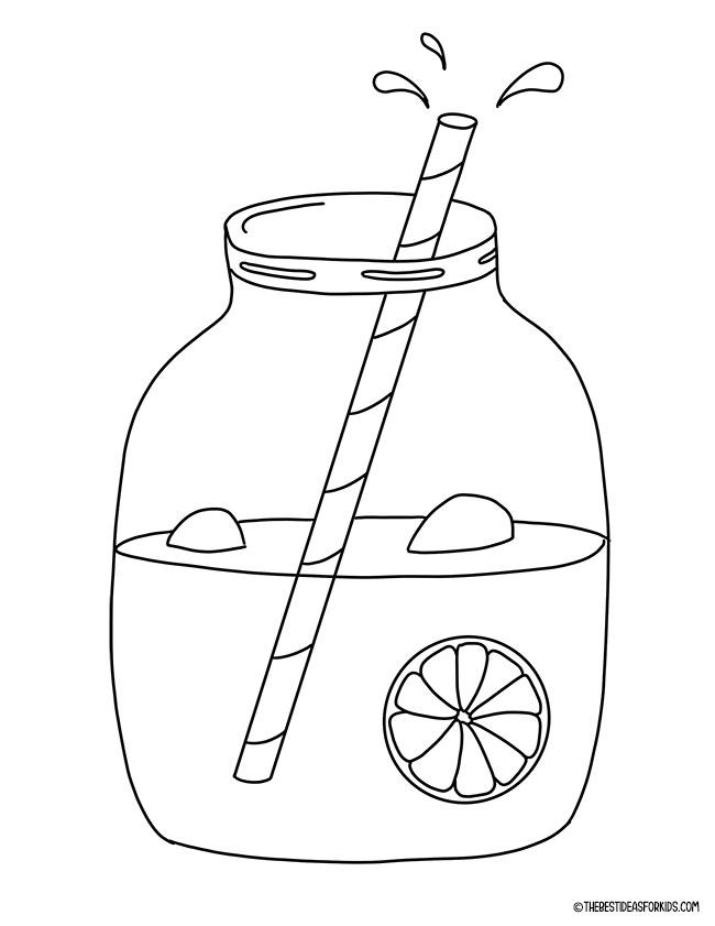 Página para colorir de limonada de verão