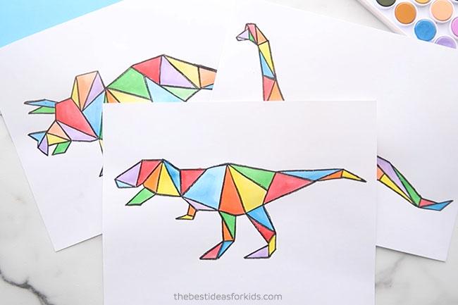 Dinosaur Watercolor Art for Kids