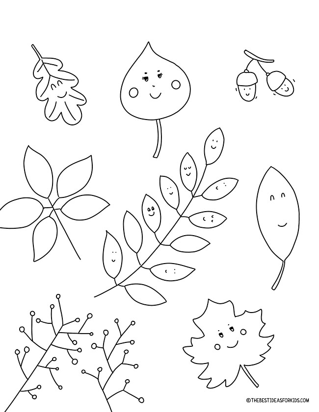 Fall Leaves Coloring Page