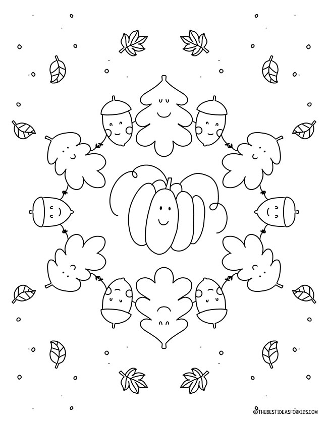 Pumpkin and Acorn Coloring Page