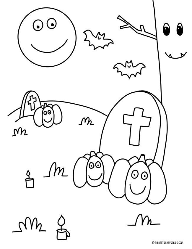 Graveyard Coloring Page