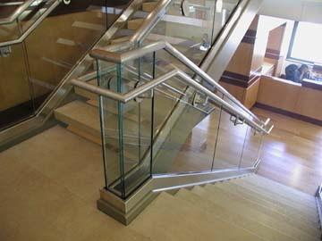 Met Tech Inc Quinn Emanuel Stainless Steel Glass Stair Rails | Stainless Steel Glass Staircase | Transparent | Handle | Powder Coated Steel | Open Tread | Black Stained