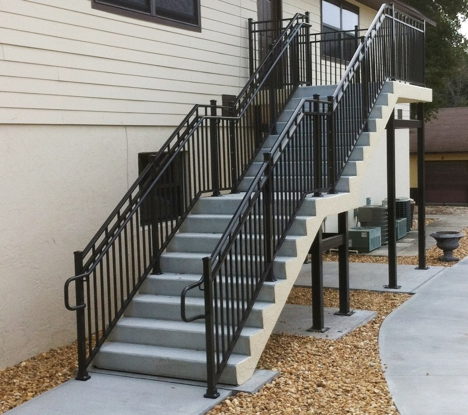 Exterior Aluminum Open Riser Tread Stair On Sanibel Pine Wood | Exterior Wood Handrails For Steps | Attached | Ready Made | Off Deck | Stoop | Pinterest