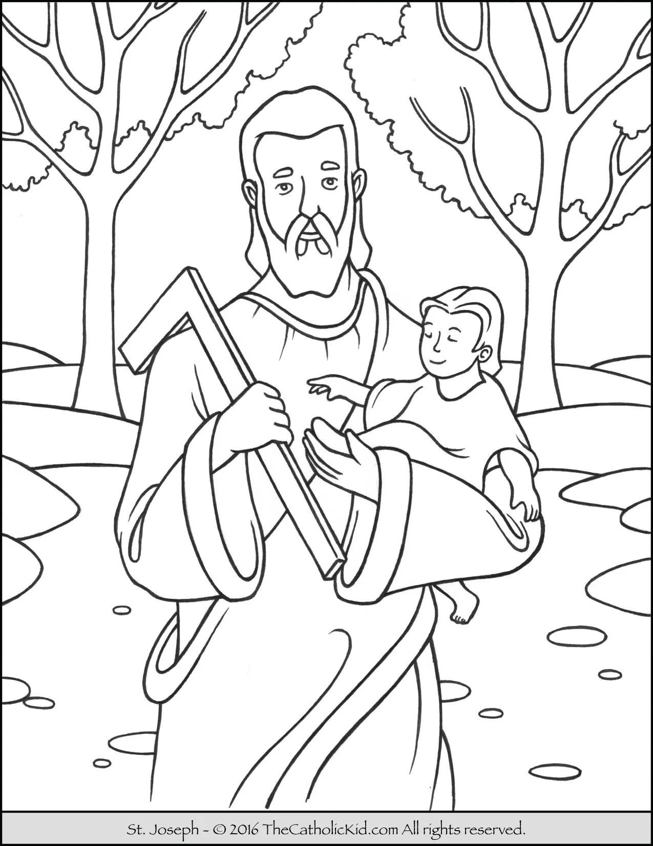 Saint Joseph Coloring Page The Catholic Kid
