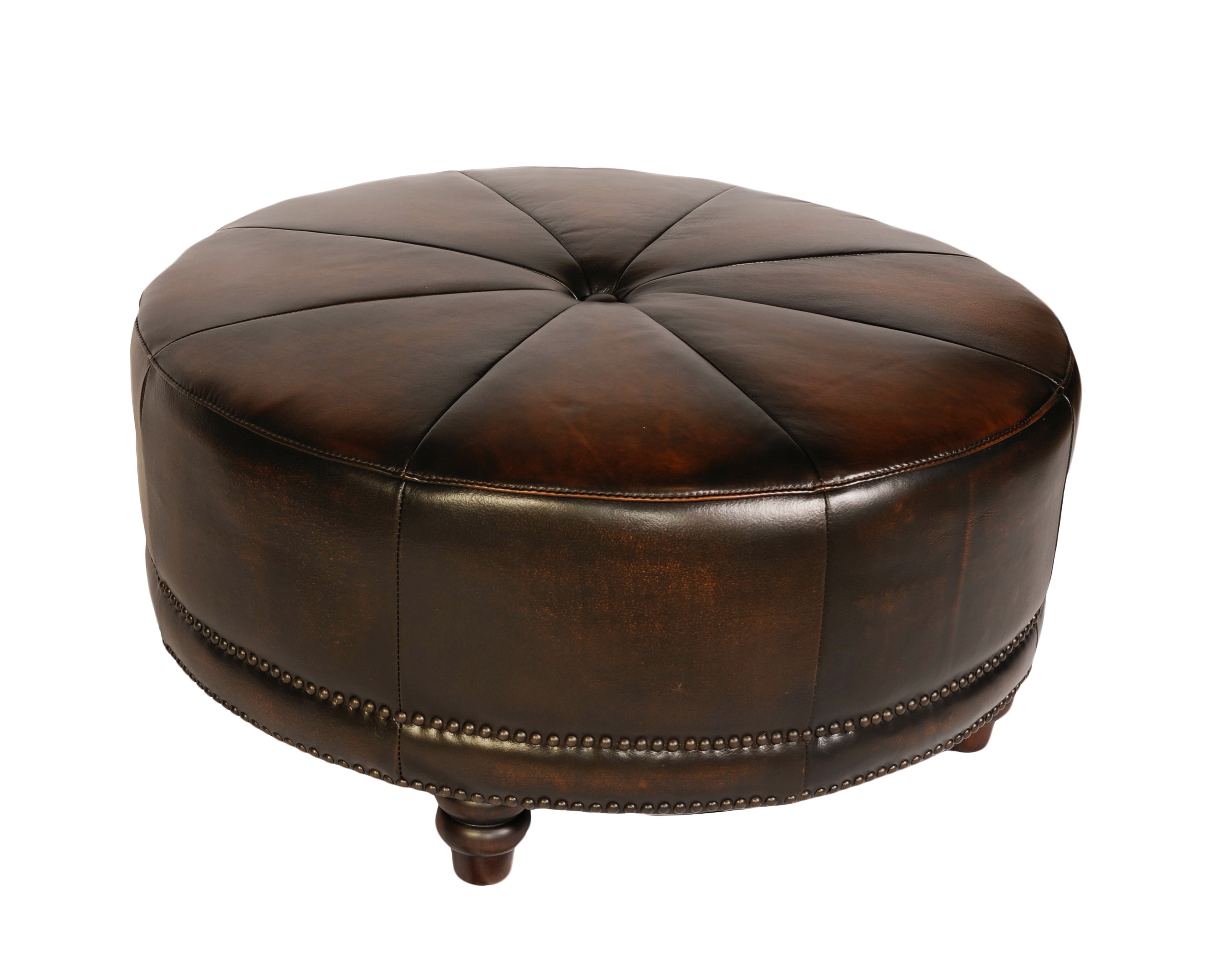 Round Cocktail Ottoman Leather Home Design Ideas