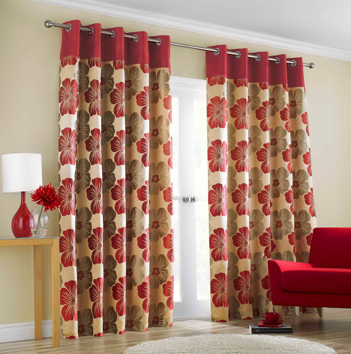 Red Patterned Curtain Panels Home Design Ideas