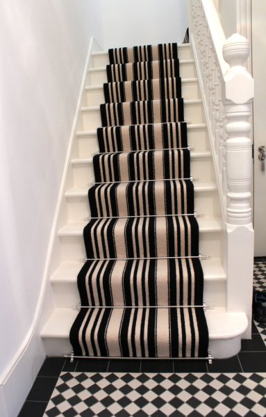 Black And White Striped Stair Carpet   The Flooring Group Black And White Striped Stair Carpet 3