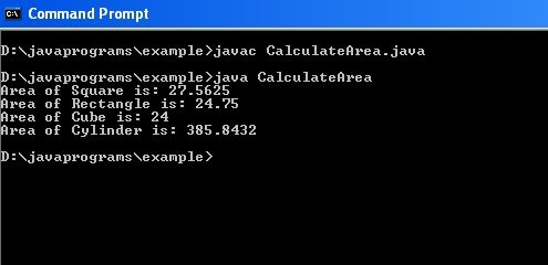 Java Tutorial with Code for Method Overloading.