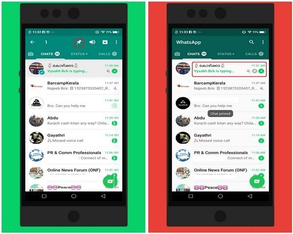 pin chats and star messages in WhatsApp